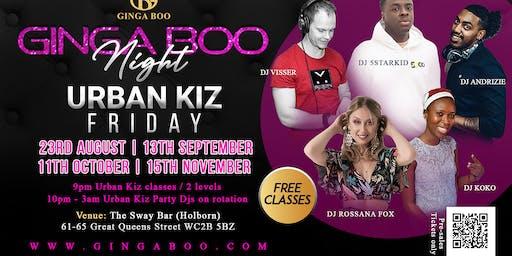 Urban Kiz Friday - Ginga Boo Night - Top Djs - Central London