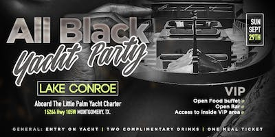 """All Black """"Yacht"""" Party in Lake Conroe"""