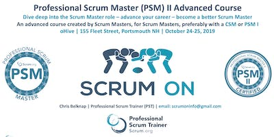 Scrum.org Professional Scrum Master (PSM) II - Portsmouth NH - Oct 24-25, 2019