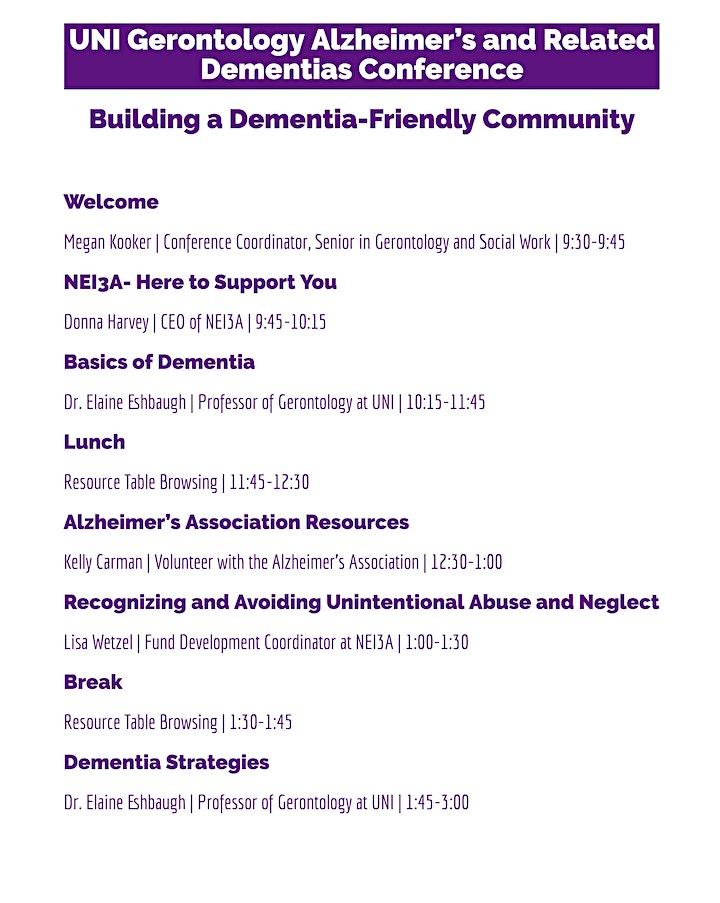 UNI  Gerontology Conference: Building a Dementia-Friendly Community image