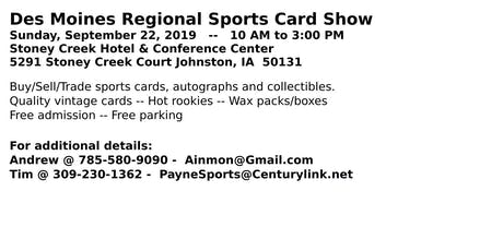 Des Moines Regional Sports Card Show tickets