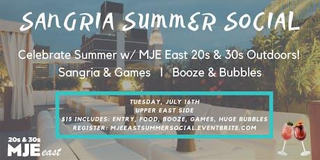 SANGRIA SUMMER SOCIAL: Rooftop Views Games Food Big Bubbles MJE East 20s 30s  tickets