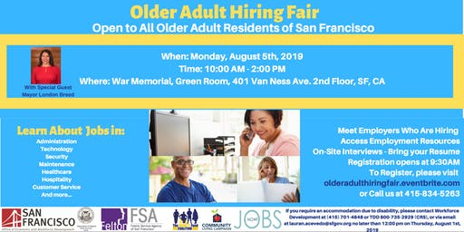 Older Adult Hiring Fair- Open to All Older Adult Residents of San Francisco