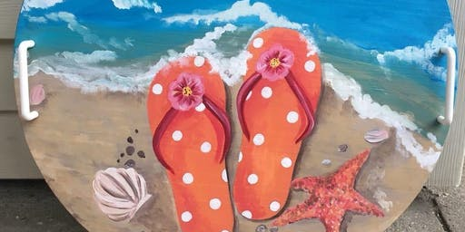 Summer Flip Flop Serving Tray Paint Night and Dinner- Collingswood Pop Shop