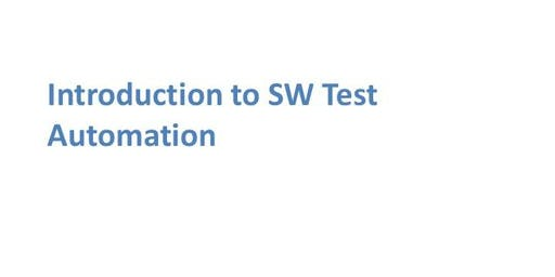 Introduction To Software Test Automation 1 Day Training in Irvine, CA