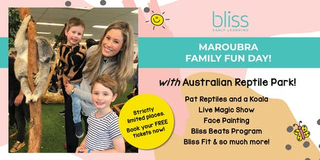 Reptiles, Koala, Face Painting and more at Bliss Maroubra's Family Fun Day! tickets