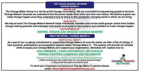 Change Maker U - free 2-hour charity session tickets