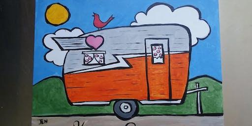 Paints & Pints at 7 Dogs Brew Pub - Happy Camper