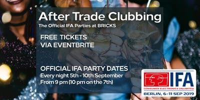 IFA After Trade Clubbing 06th - 10th September 2019