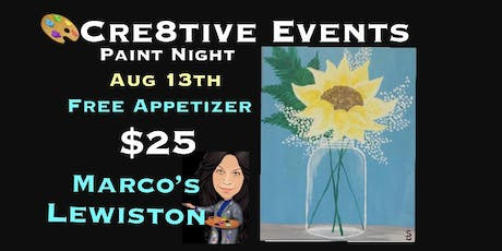 $25 Paint Night FREE APPETIZER @ Marcos Lewiston tickets