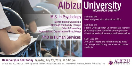 Information Session: Masters in Psychology and PhD in Human Services