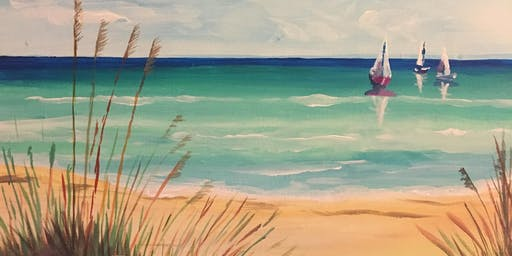 Paint & Sip Party Event - 'Beach View' at The Three Horseshoes, Yaxley.