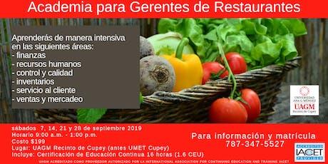 Restaurantes; Academia para Gerentes INNOVADORES  tickets
