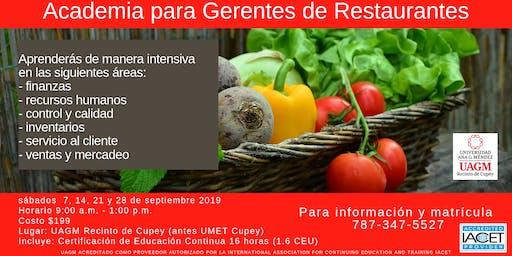 Restaurantes; Academia para Gerentes INNOVADORES
