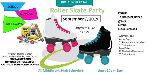 Back to School Roller Skate Party Middle and High School