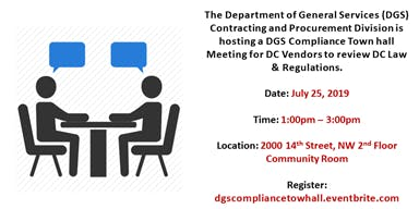 DC DGS Compliance Town Hall Meeting for DC Vendors