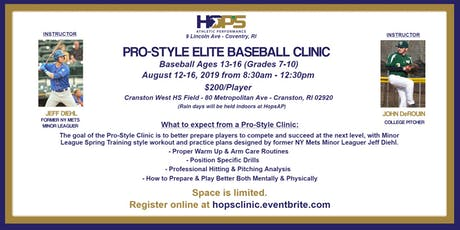 Pro-Style Elite Baseball Clinic ~ August 12th-16th, 2019 ~ 8:30am-12:30pm tickets