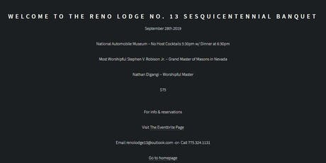 Reno Lodge No. 13 - Sesquicentennial Banquet tickets