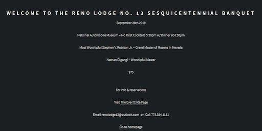 Reno Lodge No. 13 - Sesquicentennial Banquet