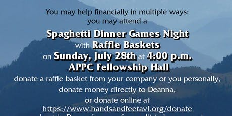 Spaghetti Dinner Games Night with Raffle Baskets tickets