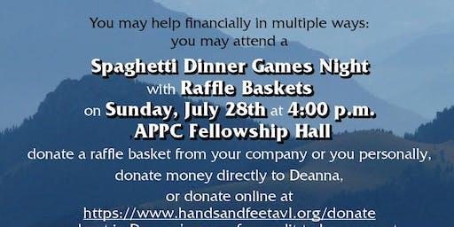 Spaghetti Dinner Games Night with Raffle Baskets