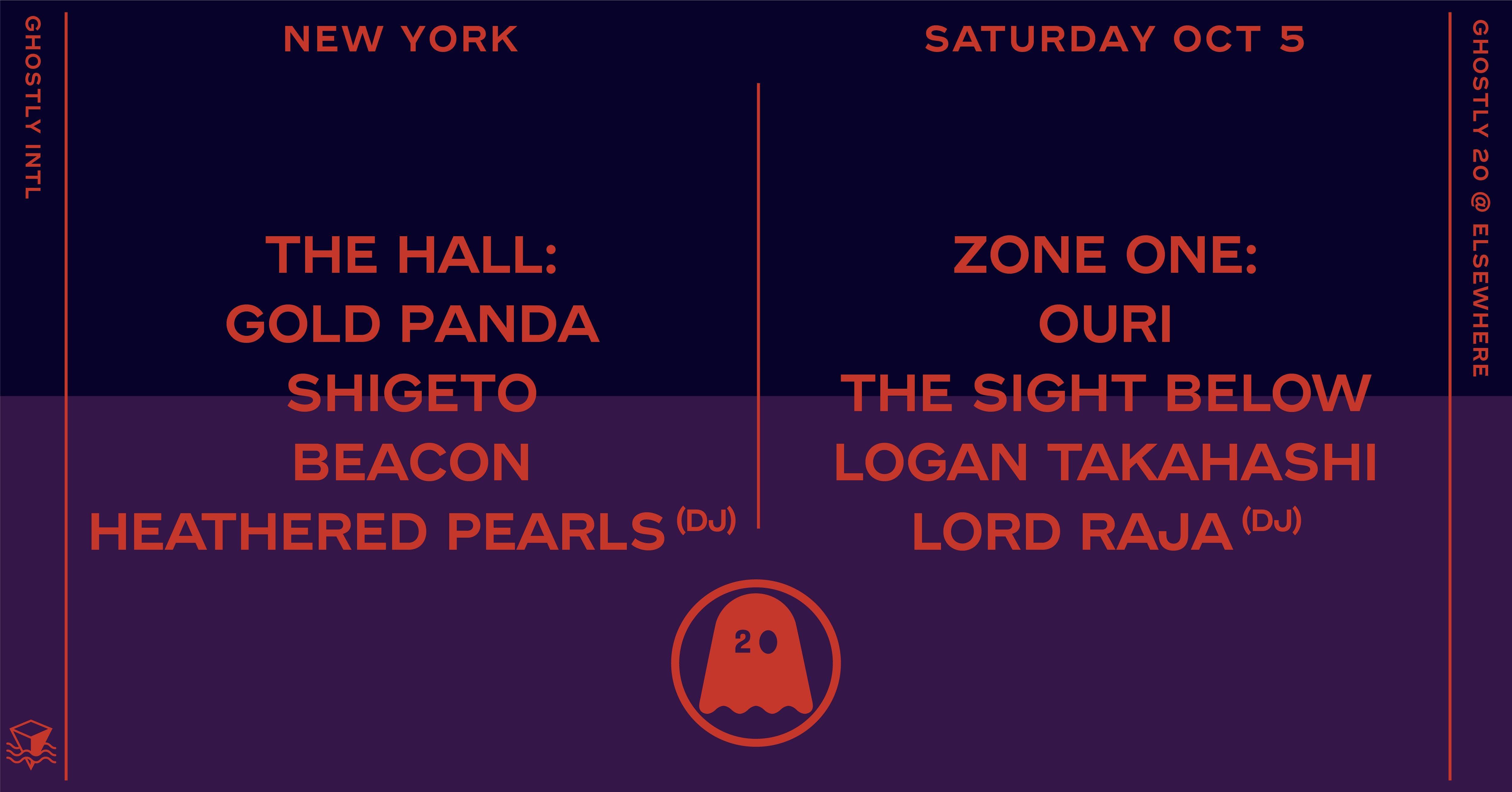 Ghostly 20 (Early) w/ Gold Panda, Shigeto, Beacon, Heathered Pearls (DJ),  Ouri, The Sight Below, Logan Takahashi, Lord RAJA (DJ), Starchild & The New Romantic (DJ)