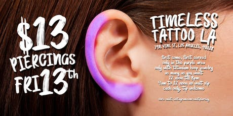 $13 Piercings for Friday 13th! - Timeless Tattoo  tickets
