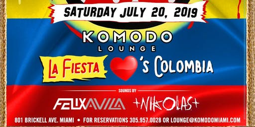 La Fiesta love COLOMBIA Komodo Lounge Saturday!