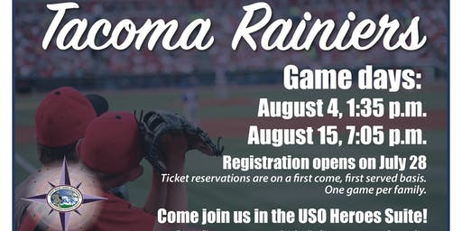 JBLM EFMP Sunday Game Time - Tacoma Rainiers, USO Heroes Suite
