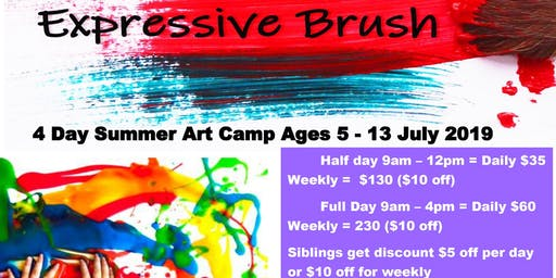 July 22-25 Four Day Summer Art Camp Ages 5-13
