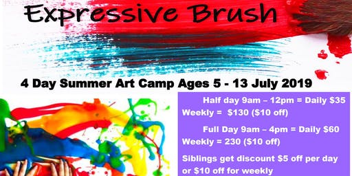 August 5-8 Four Day Summer Art Camp Ages 5-13