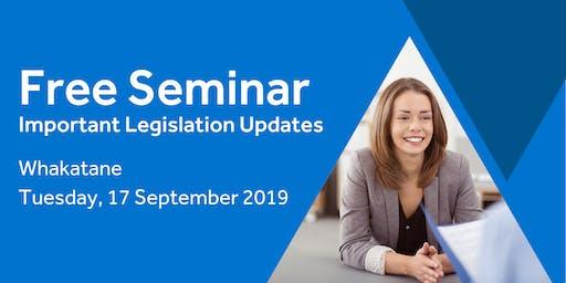 Free Seminar: Legislation updates for small businesses - Whakatane