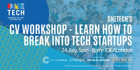 OneTech CV workshop - find out how to get hired by a tech startup! (for 18-24 year olds) tickets