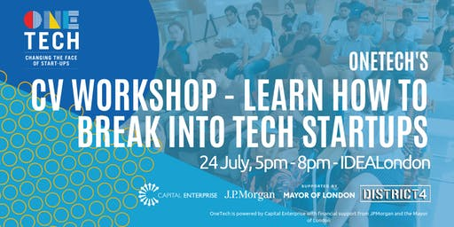 OneTech CV workshop - find out how to get hired by a tech startup! (for 18-24 year olds)