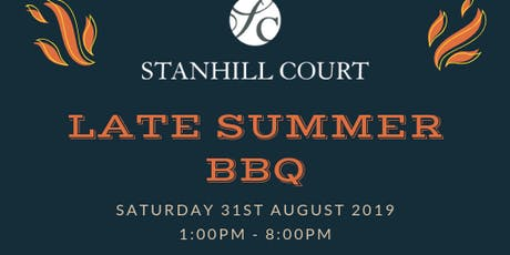Late Summer BBQ at Stanhill Court Hotel in Horley, Charlwood tickets