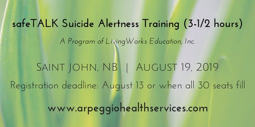 safeTALK Suicide Alertness Training - Saint John, NB - August 19, 2019