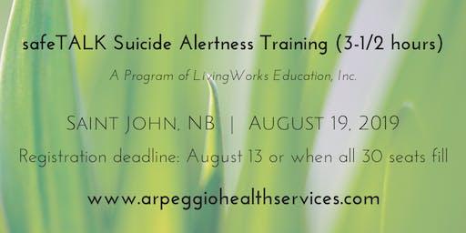safeTALK Suicide Alertness Training - Saint John, NB - Aug. 19, 2019