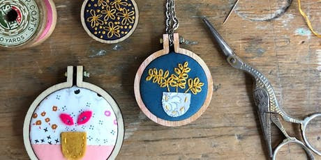 Embroidery Hoop Necklace with Cherry Peg tickets