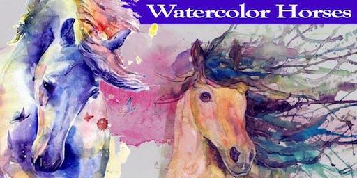 Majestic Horses - Beginner's EVENING Watercolor Class - Mount Ulla
