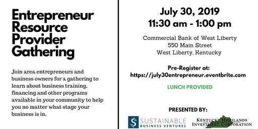 Entrepreneur Resource Provider Gathering - West Liberty