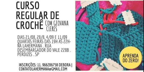 Curso Regular de Crochê com Geovana CLeres  ingressos