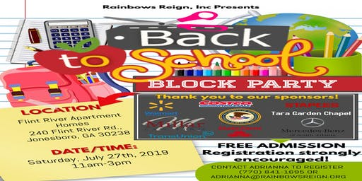Back to School Block Party (Backpack & Supply Giveaway, PLUS MORE)!