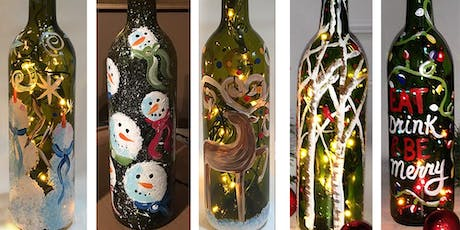 Christmas Wine Bottle with Lights Sip & Paint Party Art Maker Create Class tickets