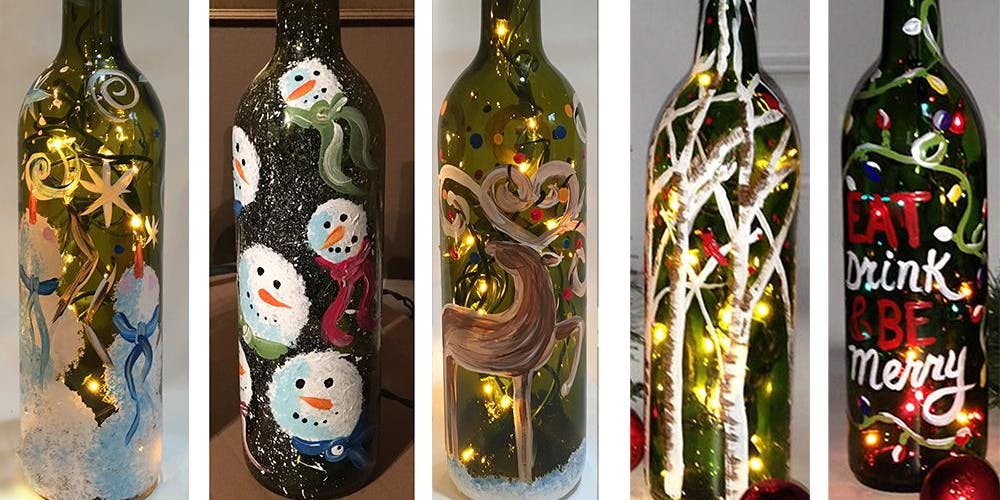 Christmas Wine.Christmas Wine Bottle With Lights Sip Paint Party Art Maker Create Class