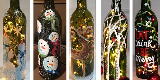 Christmas Wine Bottle with Lights Sip & Paint Party Art Maker Create Class