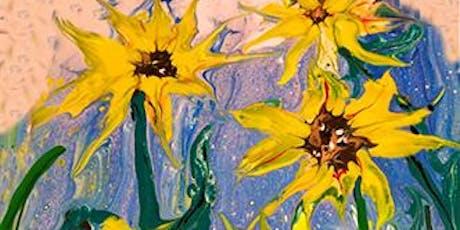 Fluid Pour Sunflower Painting Art Paint Maker Party Sip & Create Class tickets