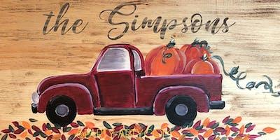 Red Truck Pumpkins Wooden Sign - Paint  and Sip Party Art Maker Class
