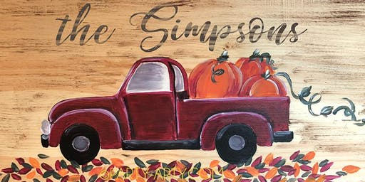 Red Truck Pumpkins Wooden Sign - Paint  and Sip Party Art Maker Class