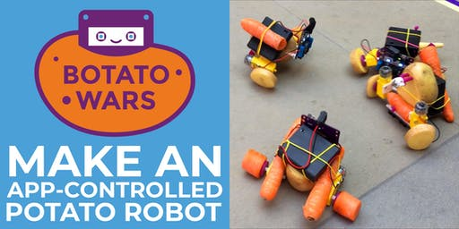 Crafty Robot Botato Wars Workshop - build and battle app controlled vegbots