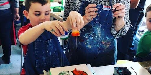 Liquid Glass Family Pour; A Pouring Medium Workshop at the Farm